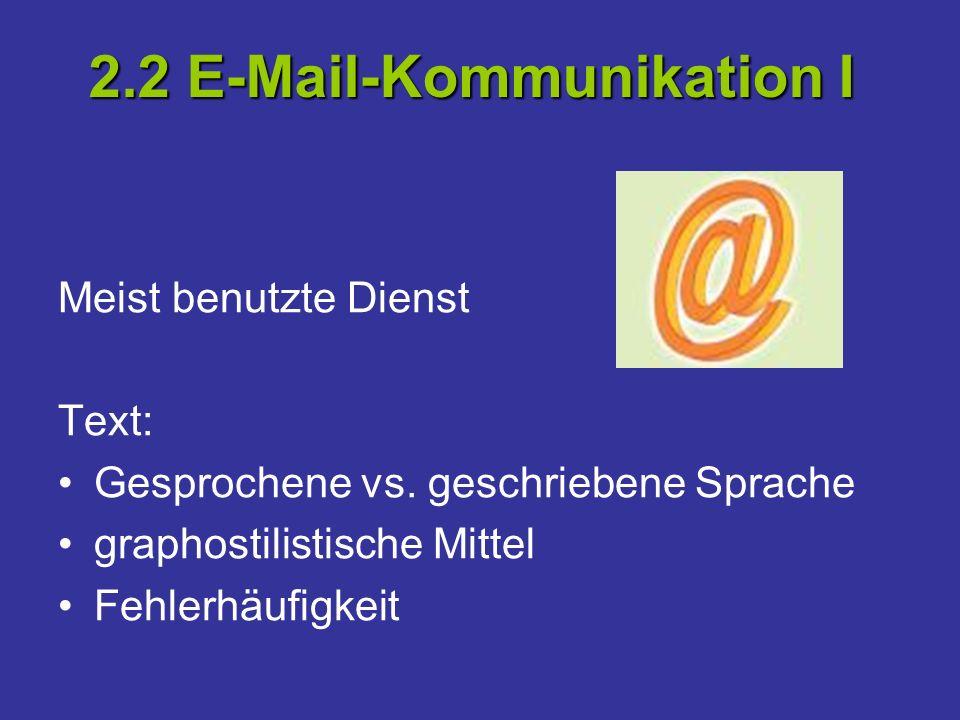 Meist benutzte Dienst Text: Gesprochene vs. geschriebene Sprache graphostilistische Mittel Fehlerhäufigkeit 2.2 E-Mail-Kommunikation I