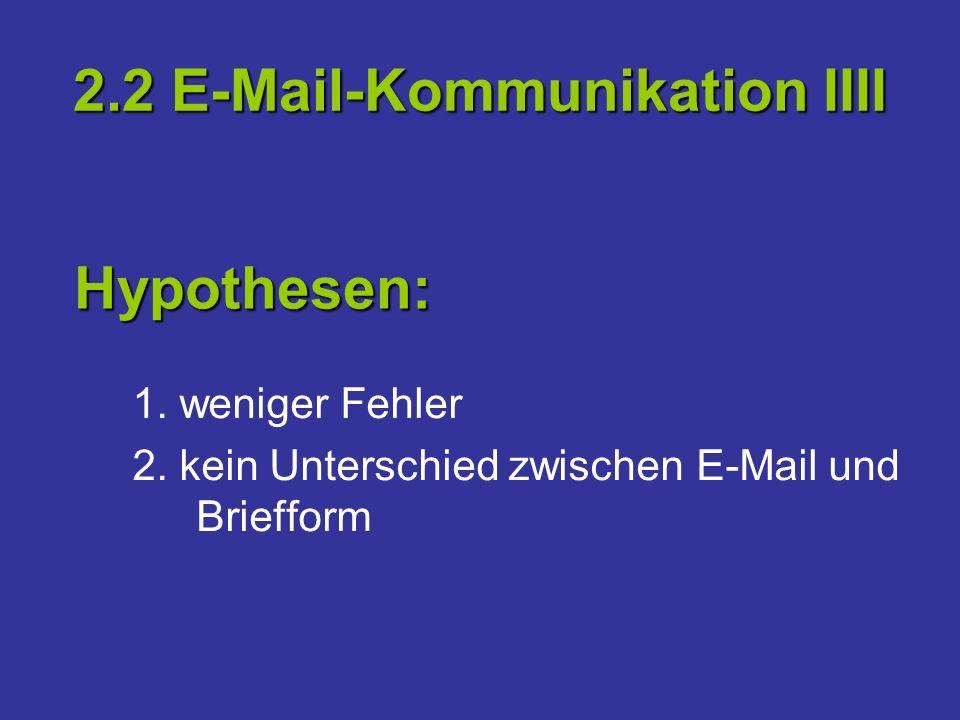2.2 E-Mail-Kommunikation IIII 1. weniger Fehler 2. kein Unterschied zwischen E-Mail und Briefform Hypothesen: