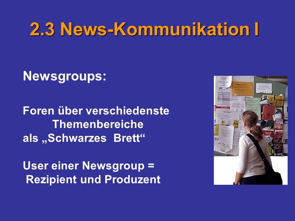 Newsgroups: Foren über verschiedenste Themenbereiche als Schwarzes Brett User einer Newsgroup = Rezipient und Produzent 2.3 News-Kommunikation I