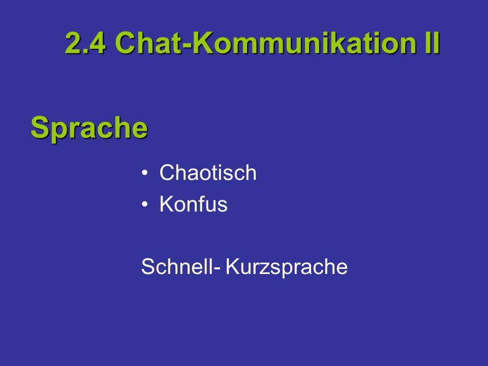 Chaotisch Konfus Schnell- Kurzsprache 2.4 Chat-Kommunikation II Sprache