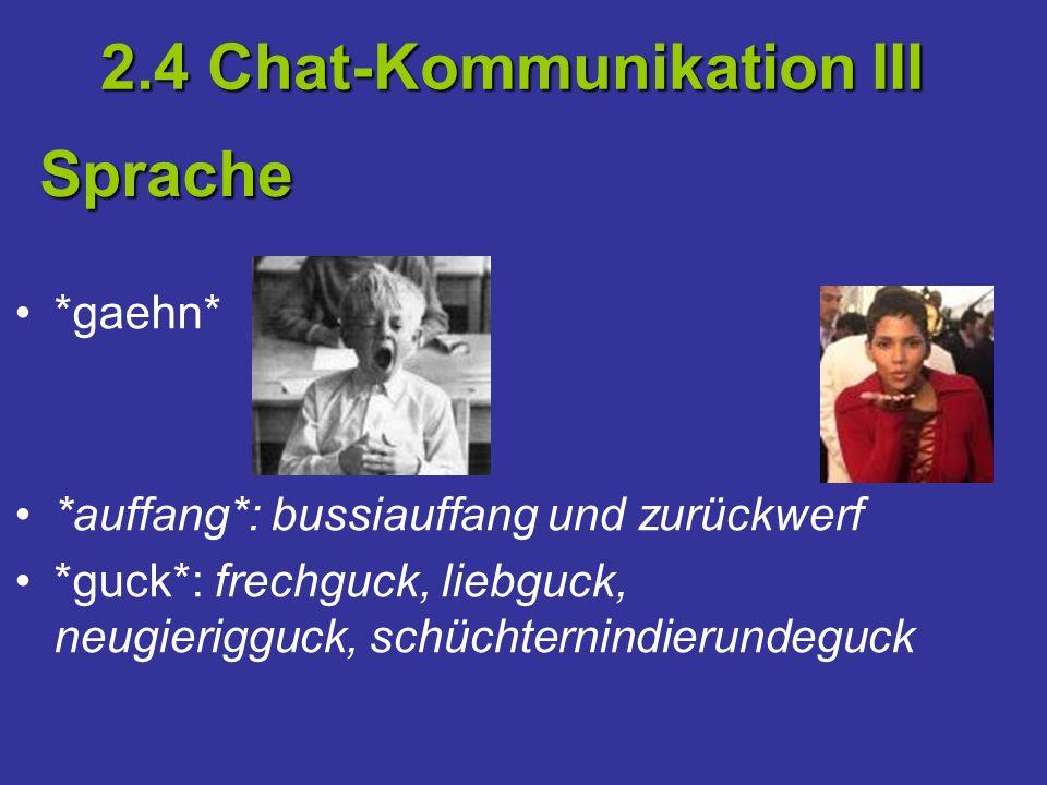 *gaehn* *auffang*: bussiauffang und zurückwerf *guck*: frechguck, liebguck, neugierigguck, schüchternindierundeguck 2.4 Chat-Kommunikation III Sprache