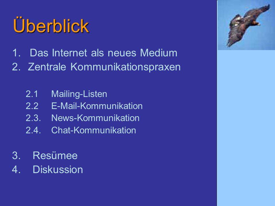 Überblick 1. Das Internet als neues Medium 2.Zentrale Kommunikationspraxen 2.1 Mailing-Listen 2.2 E-Mail-Kommunikation 2.3. News-Kommunikation 2.4. Ch