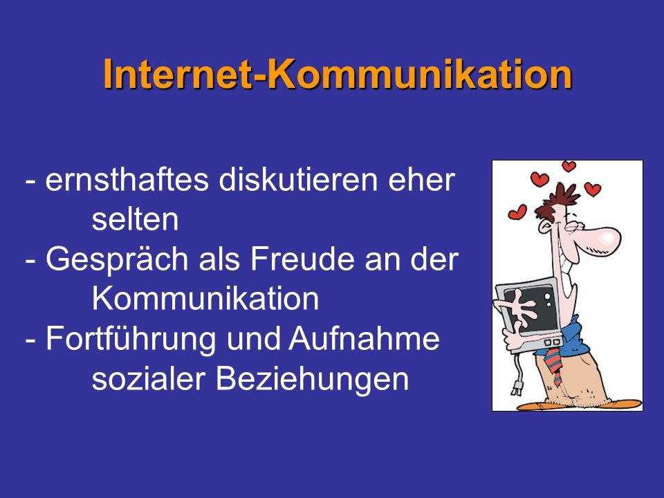 - ernsthaftes diskutieren eher selten - Gespräch als Freude an der Kommunikation - Fortführung und Aufnahme sozialer Beziehungen Internet-Kommunikatio