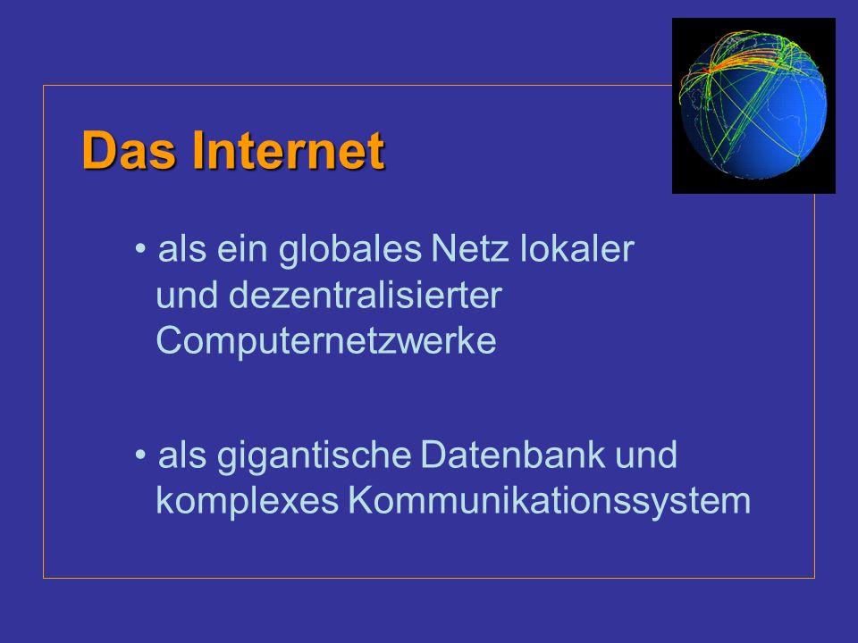 Das Internet als ein globales Netz lokaler und dezentralisierter Computernetzwerke als gigantische Datenbank und komplexes Kommunikationssystem