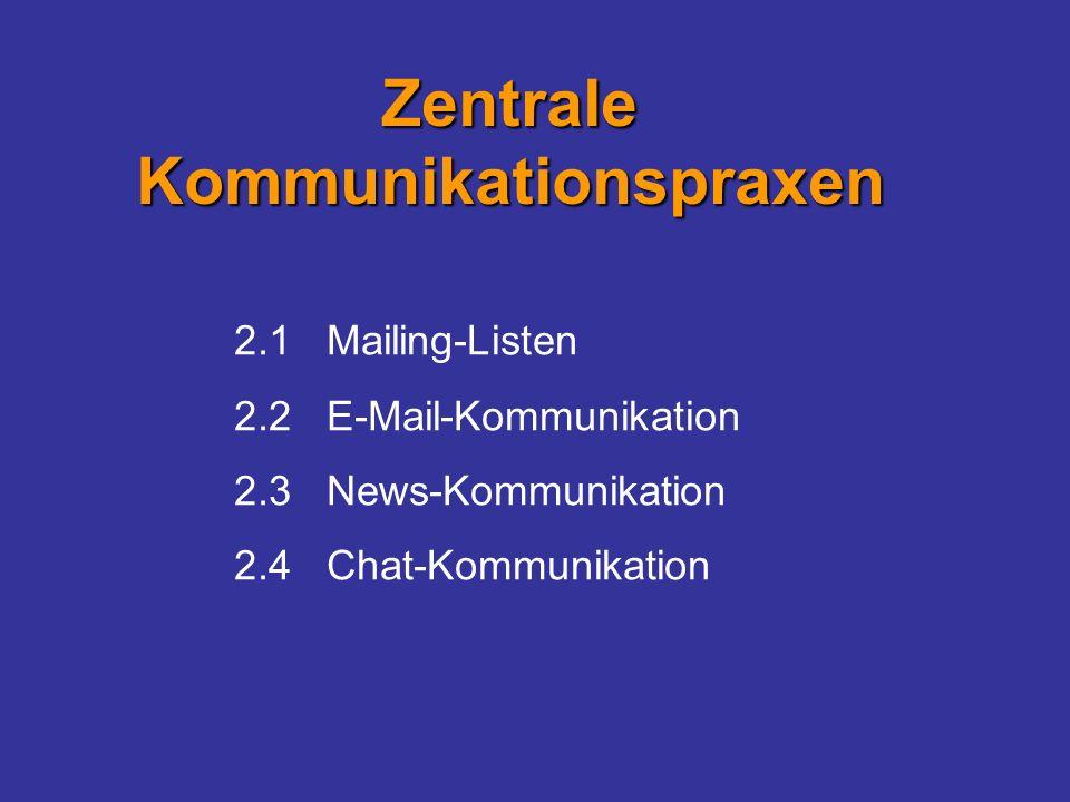2.1 Mailing-Listen 2.2 E-Mail-Kommunikation 2.3 News-Kommunikation 2.4 Chat-Kommunikation Zentrale Kommunikationspraxen