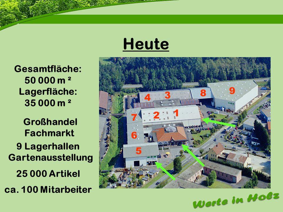 Firmenvorstellung Heute Gesamtfläche: 50 000 m ² Lagerfläche: 35 000 m ² Großhandel Fachmarkt 9 Lagerhallen Gartenausstellung 25 000 Artikel ca. 100 M