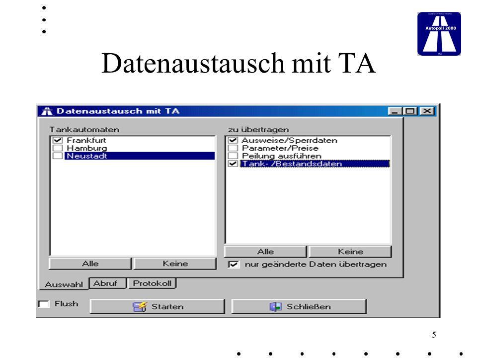 6 Tankdaten-Export Export von Tankdaten an andere Anwendungen ( ASCII - Format )