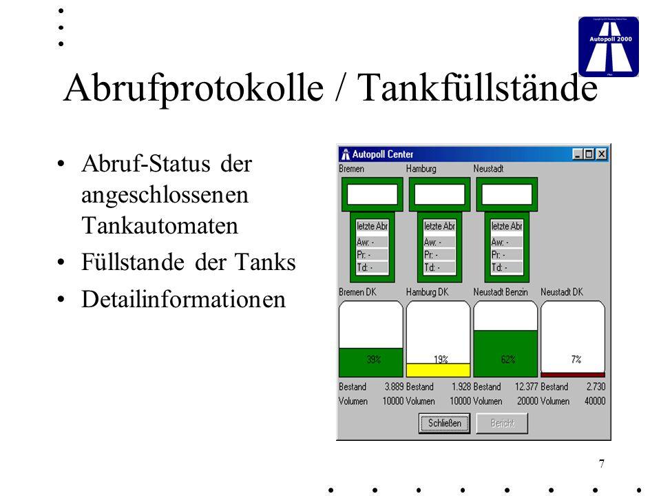 18 Fahrzeug Analysen Darstellung von Tankvorgängen sortiert nach Fuhrparks, Fahrzeugtyp, Fahrzeug Errechnung der gefahrenen Strecken Feststellung des Durchschn.