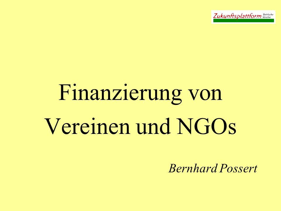 Finanzierung von Vereinen / NGOs Jeder Verein ist anders Es geht anfangs ums Geld, und irgendwann um Energie: Material, Zeit, Ideen, Kontakte, Herzblut,...