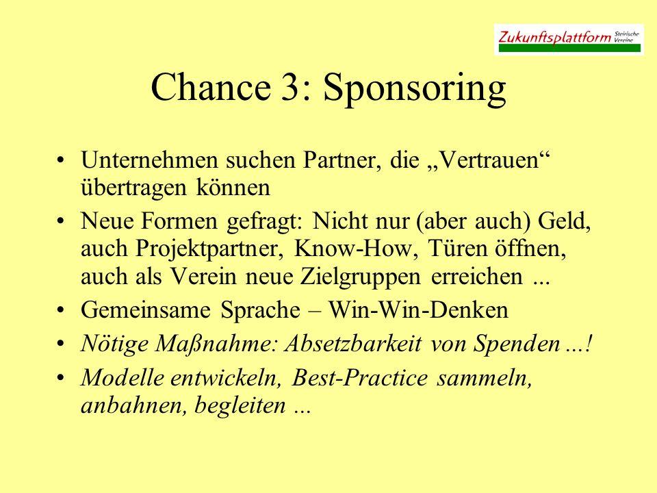 Chance 3: Sponsoring Unternehmen suchen Partner, die Vertrauen übertragen können Neue Formen gefragt: Nicht nur (aber auch) Geld, auch Projektpartner, Know-How, Türen öffnen, auch als Verein neue Zielgruppen erreichen...
