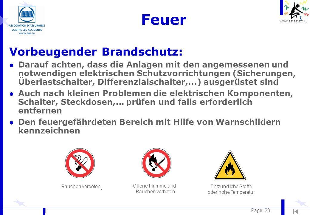 www.safestart.lu Page: 28 Feuer Vorbeugender Brandschutz: l Darauf achten, dass die Anlagen mit den angemessenen und notwendigen elektrischen Schutzvo