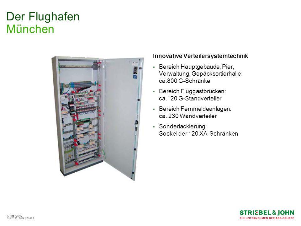 © ABB Group March 10, 2014 | Slide 9 Der Flughafen München Innovative Verteilersystemtechnik Bereich Hauptgebäude, Pier, Verwaltung, Gepäcksortierhall
