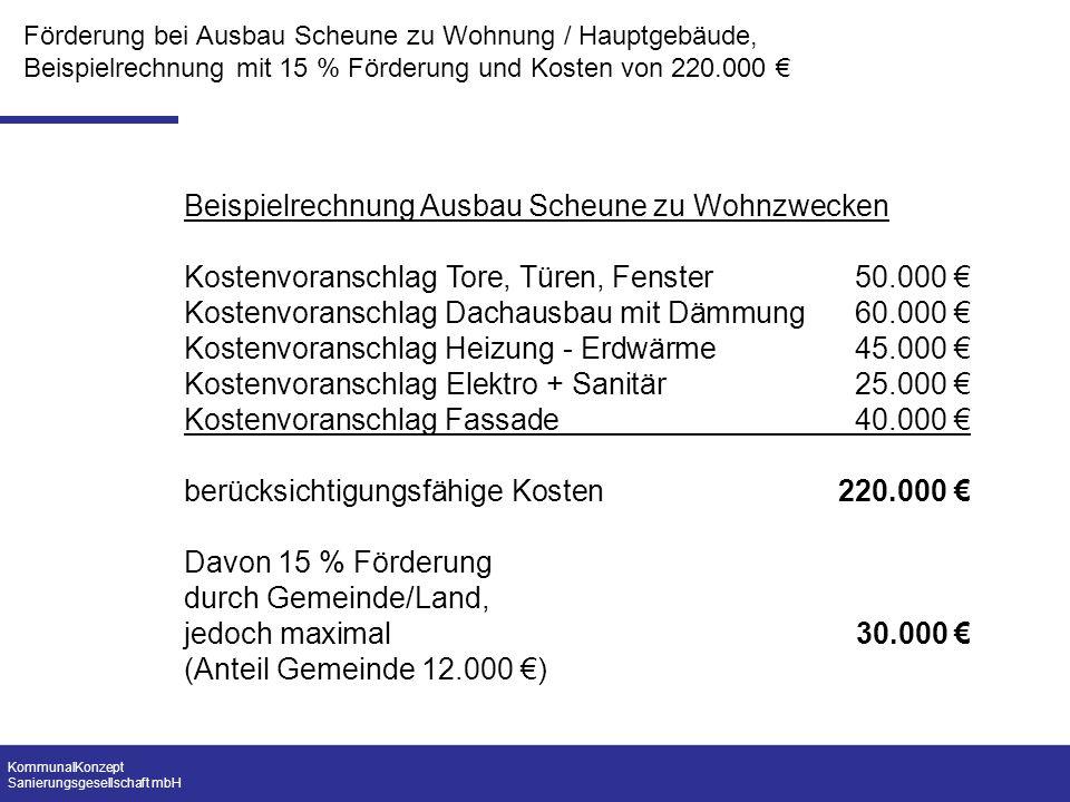 KommunalKonzept Sanierungsgesellschaft mbH Förderung bei Ausbau Scheune zu Wohnung / Hauptgebäude, Beispielrechnung mit 15 % Förderung und Kosten von