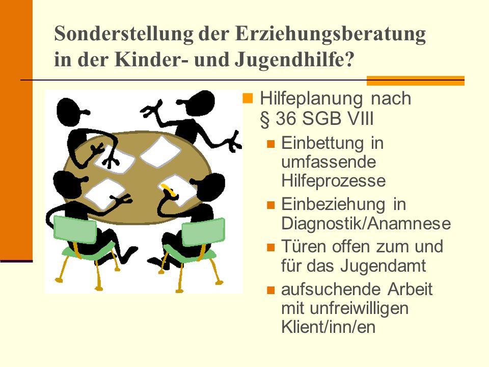 Sonderstellung der Erziehungsberatung in der Kinder- und Jugendhilfe? Hilfeplanung nach § 36 SGB VIII Einbettung in umfassende Hilfeprozesse Einbezieh