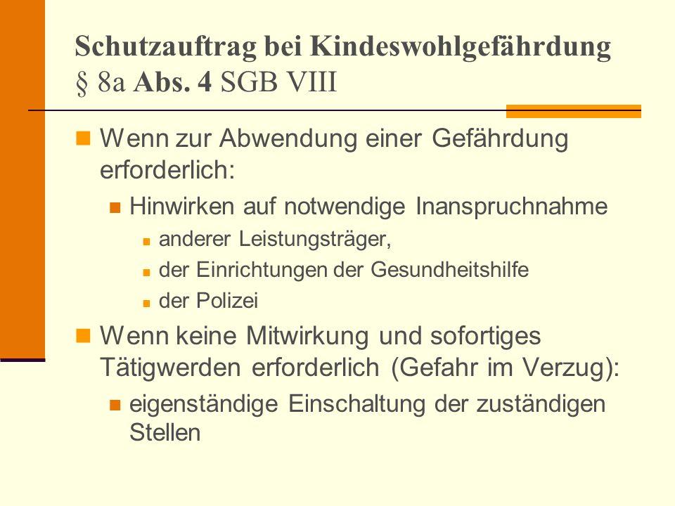 Schutzauftrag bei Kindeswohlgefährdung § 8a Abs. 4 SGB VIII Wenn zur Abwendung einer Gefährdung erforderlich: Hinwirken auf notwendige Inanspruchnahme