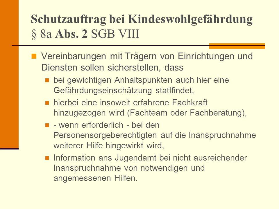 Schutzauftrag bei Kindeswohlgefährdung § 8a Abs. 2 SGB VIII Vereinbarungen mit Trägern von Einrichtungen und Diensten sollen sicherstellen, dass bei g