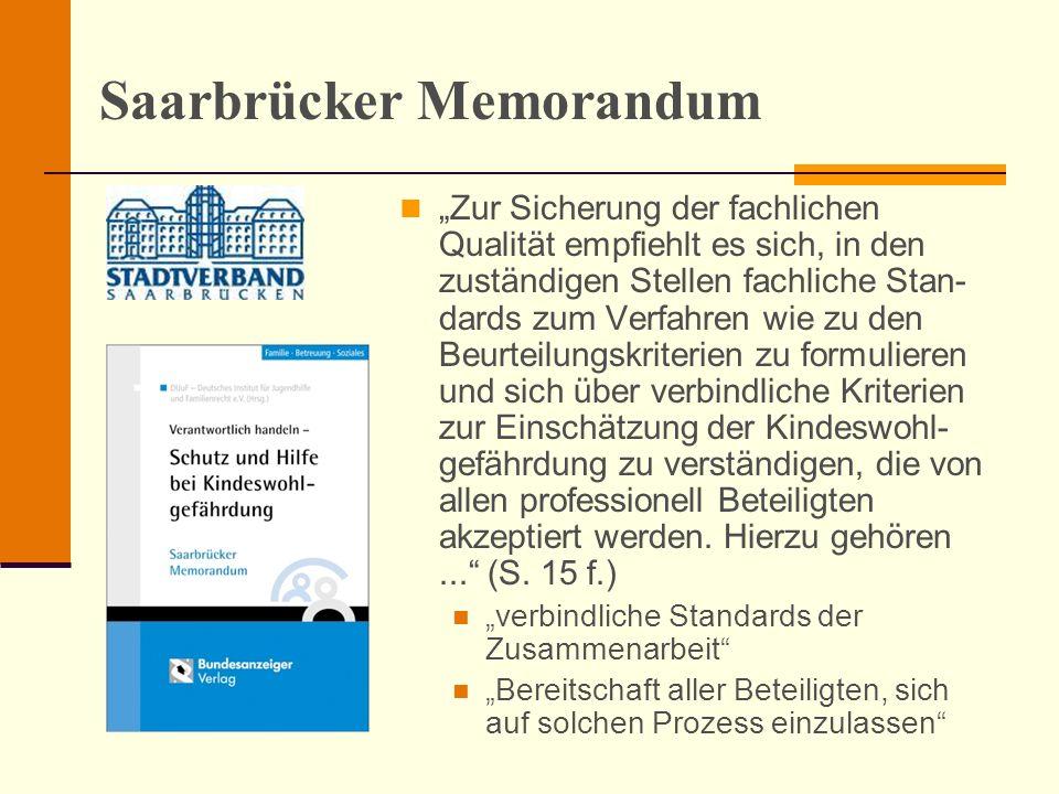 Saarbrücker Memorandum Zur Sicherung der fachlichen Qualität empfiehlt es sich, in den zuständigen Stellen fachliche Stan- dards zum Verfahren wie zu