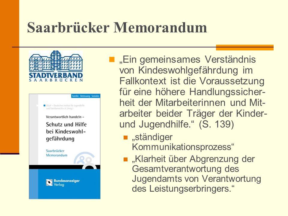 Saarbrücker Memorandum Ein gemeinsames Verständnis von Kindeswohlgefährdung im Fallkontext ist die Voraussetzung für eine höhere Handlungssicher- heit