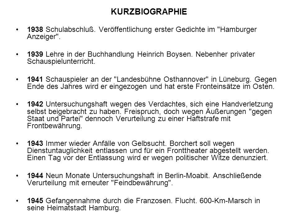 KURZBIOGRAPHIE 1938 Schulabschluß. Veröffentlichung erster Gedichte im