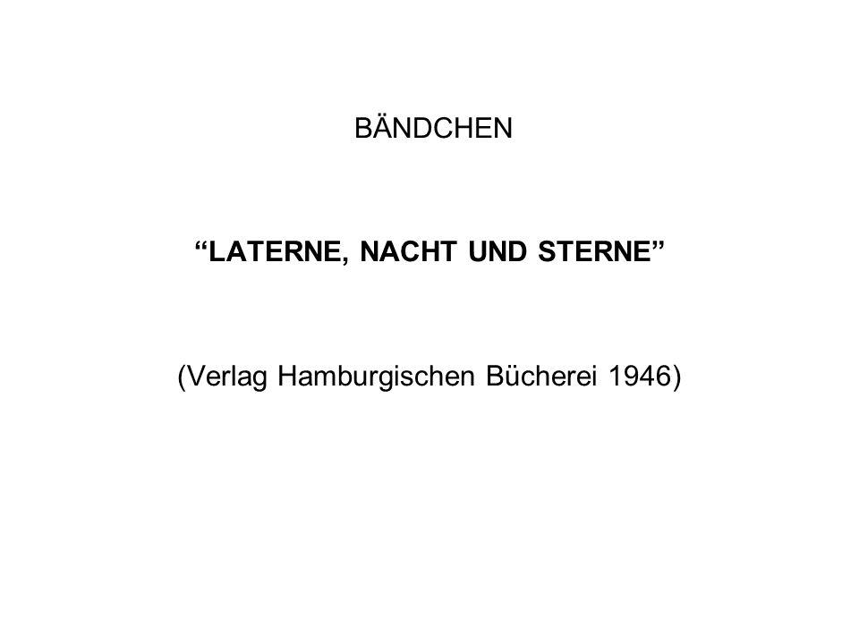 BÄNDCHEN LATERNE, NACHT UND STERNE (Verlag Hamburgischen Bücherei 1946)