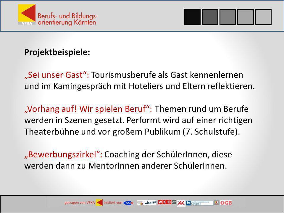 Projektbeispiele: Talk & walk: Bewerbungswettbewerb im Bezirk mit Modenschau, SchülerInnen zeigen Do`s and Don`ts.