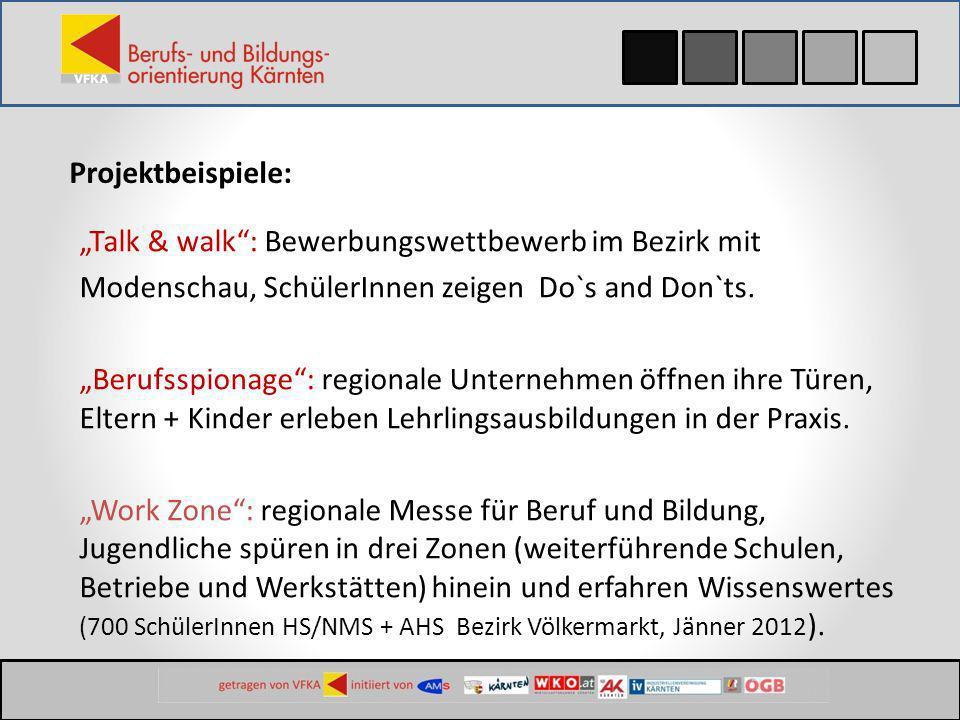 Projektbeispiele: Talk & walk: Bewerbungswettbewerb im Bezirk mit Modenschau, SchülerInnen zeigen Do`s and Don`ts. Berufsspionage: regionale Unternehm