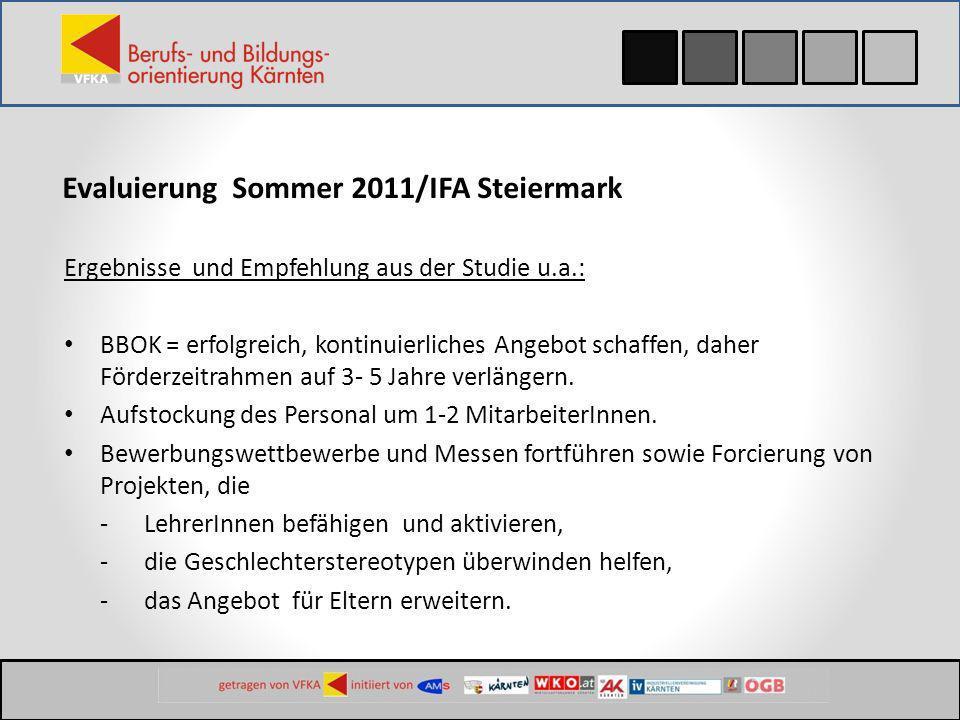 Evaluierung Sommer 2011/IFA Steiermark Ergebnisse und Empfehlung aus der Studie u.a.: BBOK = erfolgreich, kontinuierliches Angebot schaffen, daher För