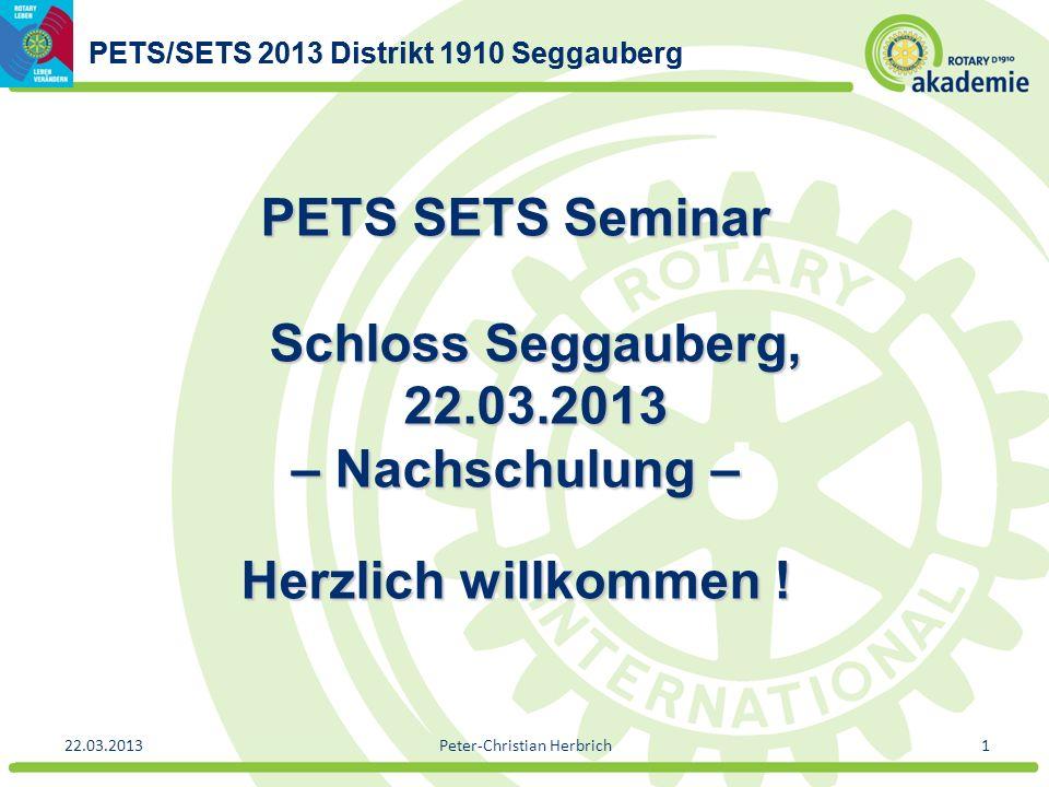PETS/SETS 2013 Distrikt 1910 Seggauberg 22.03.2013Peter-Christian Herbrich1 PETS SETS Seminar Schloss Seggauberg, 22.03.2013 – Nachschulung – Herzlich