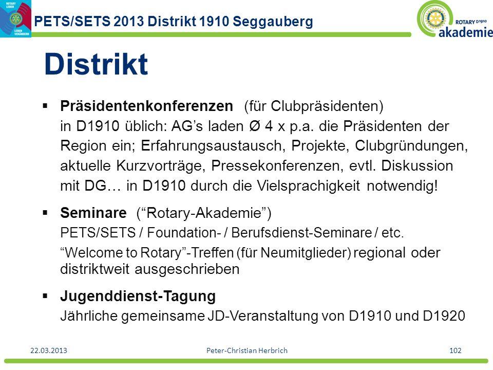 PETS/SETS 2013 Distrikt 1910 Seggauberg 22.03.2013Peter-Christian Herbrich102 Distrikt Präsidentenkonferenzen (für Clubpräsidenten) in D1910 üblich: A