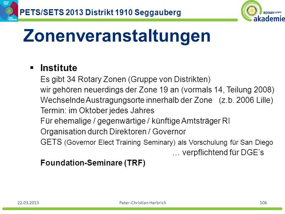 PETS/SETS 2013 Distrikt 1910 Seggauberg 22.03.2013Peter-Christian Herbrich106 Zonenveranstaltungen Institute Es gibt 34 Rotary Zonen (Gruppe von Distr
