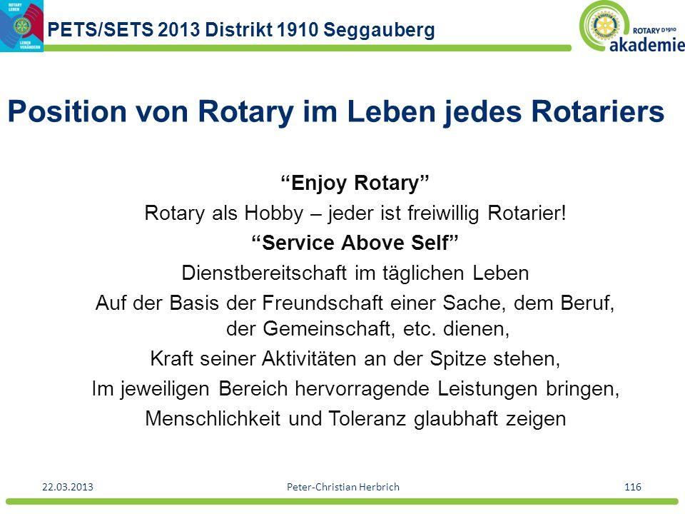 PETS/SETS 2013 Distrikt 1910 Seggauberg 22.03.2013Peter-Christian Herbrich116 Position von Rotary im Leben jedes Rotariers Enjoy Rotary Rotary als Hob