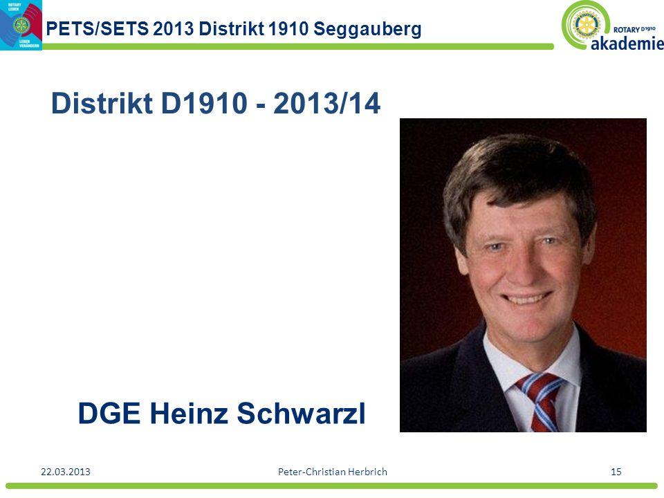 PETS/SETS 2013 Distrikt 1910 Seggauberg 22.03.2013Peter-Christian Herbrich15 DGE Heinz Schwarzl Distrikt D1910 - 2013/14