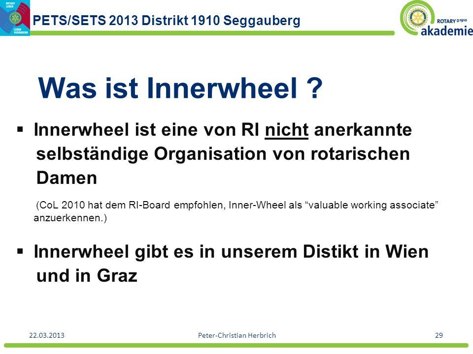 PETS/SETS 2013 Distrikt 1910 Seggauberg 22.03.2013Peter-Christian Herbrich29 Was ist Innerwheel ? Innerwheel ist eine von RI nicht anerkannte selbstän