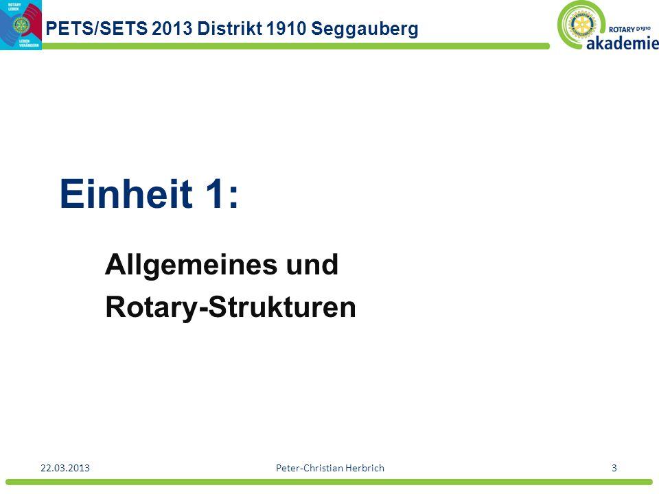 PETS/SETS 2013 Distrikt 1910 Seggauberg 22.03.2013Peter-Christian Herbrich3 Einheit 1: Allgemeines und Rotary-Strukturen