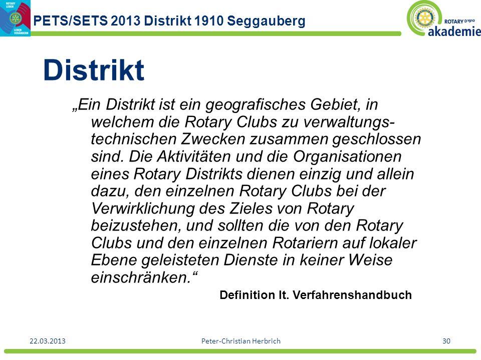 PETS/SETS 2013 Distrikt 1910 Seggauberg 22.03.2013Peter-Christian Herbrich30 Distrikt Ein Distrikt ist ein geografisches Gebiet, in welchem die Rotary