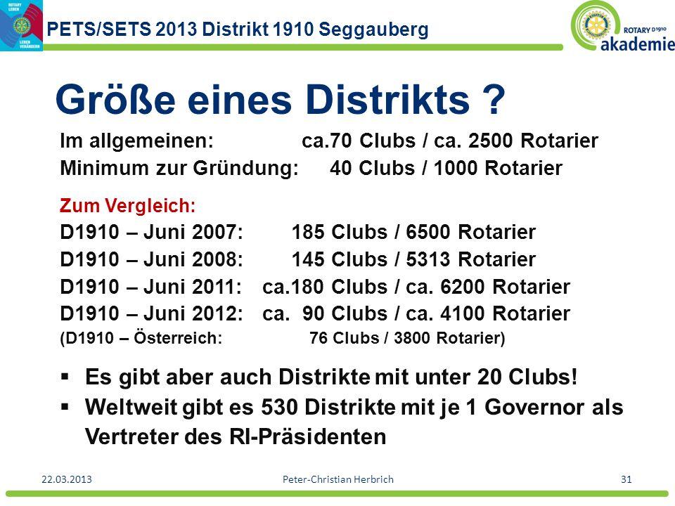 PETS/SETS 2013 Distrikt 1910 Seggauberg 22.03.2013Peter-Christian Herbrich31 Größe eines Distrikts ? Im allgemeinen: ca.70 Clubs / ca. 2500 Rotarier M