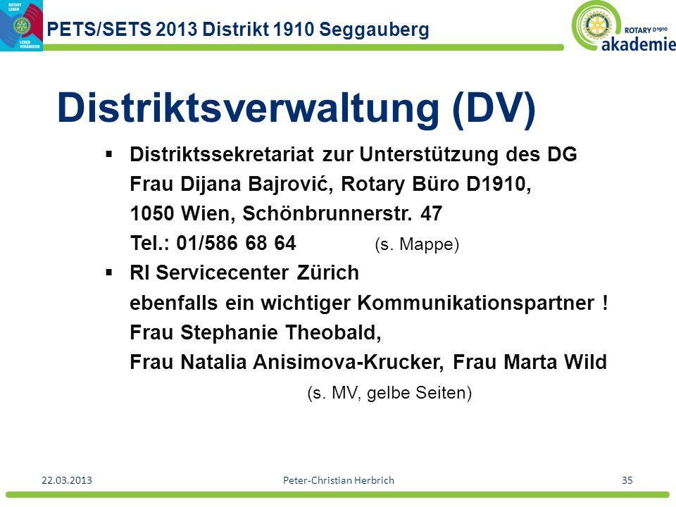 PETS/SETS 2013 Distrikt 1910 Seggauberg 22.03.2013Peter-Christian Herbrich35 Distriktsverwaltung (DV) Distriktssekretariat zur Unterstützung des DG Fr