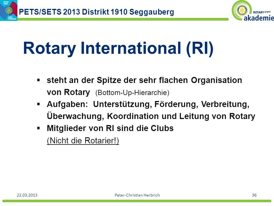 PETS/SETS 2013 Distrikt 1910 Seggauberg 22.03.2013Peter-Christian Herbrich36 Rotary International (RI) steht an der Spitze der sehr flachen Organisati