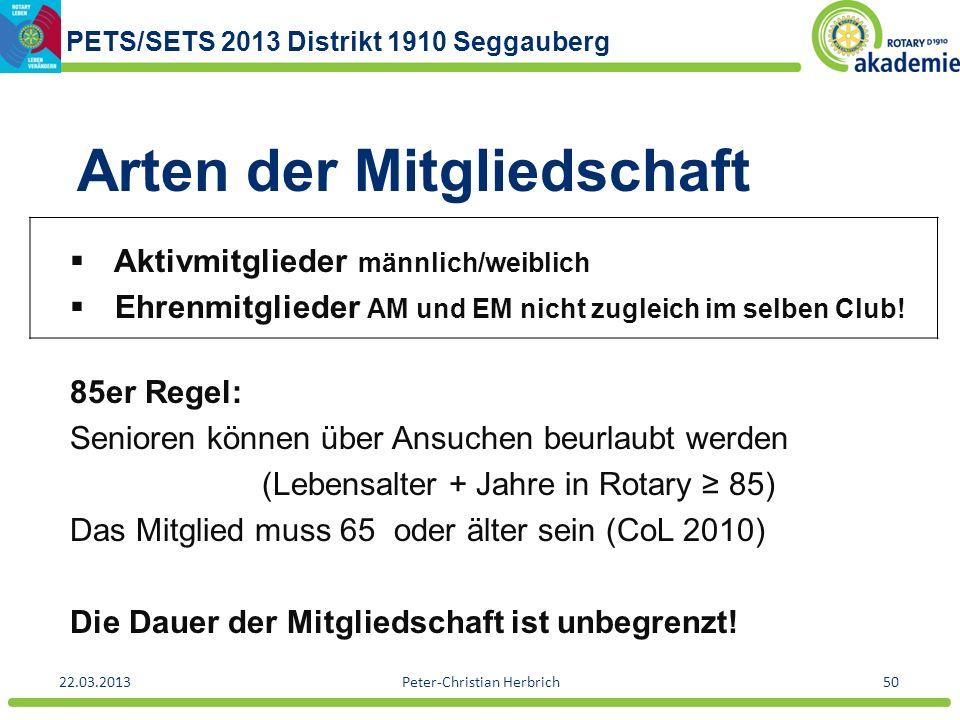 PETS/SETS 2013 Distrikt 1910 Seggauberg 22.03.2013Peter-Christian Herbrich50 Arten der Mitgliedschaft Aktivmitglieder männlich/weiblich Ehrenmitgliede