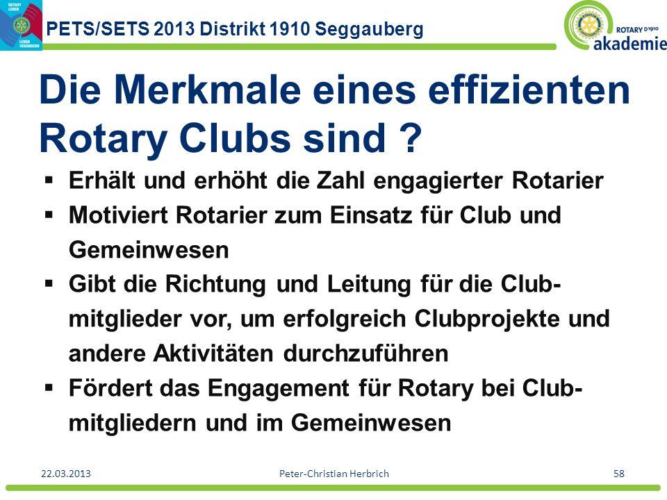 PETS/SETS 2013 Distrikt 1910 Seggauberg 22.03.2013Peter-Christian Herbrich58 Die Merkmale eines effizienten Rotary Clubs sind ? Erhält und erhöht die