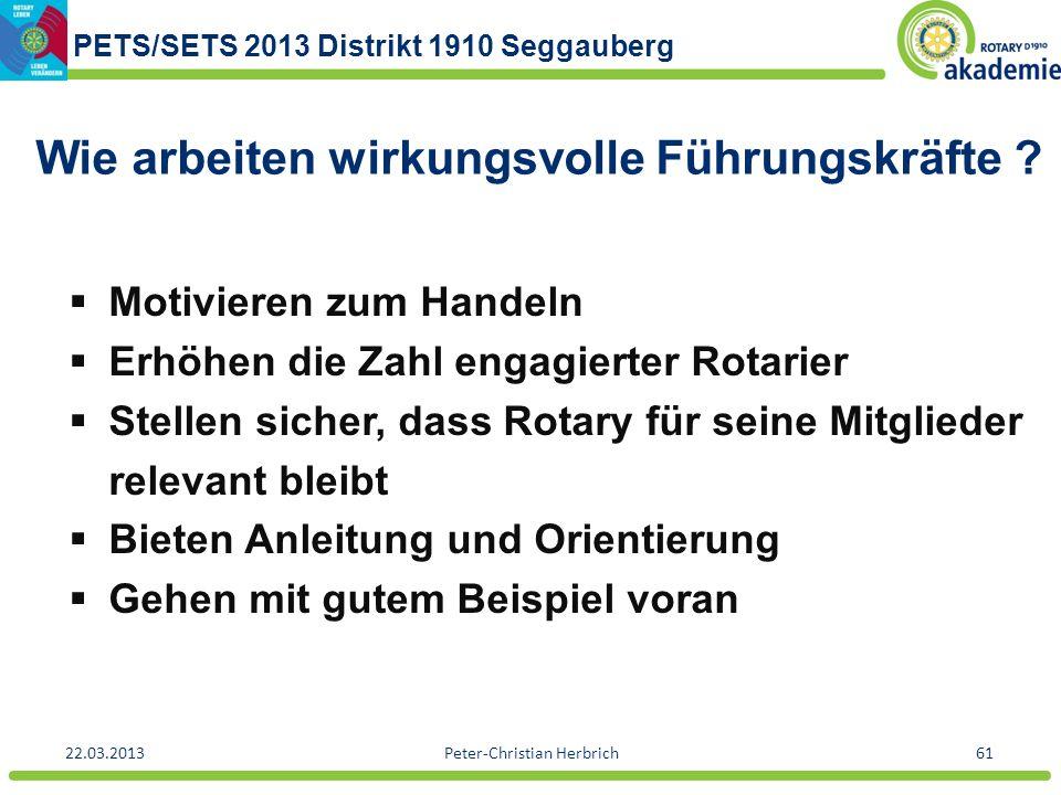 PETS/SETS 2013 Distrikt 1910 Seggauberg 22.03.2013Peter-Christian Herbrich61 Wie arbeiten wirkungsvolle Führungskräfte ? Motivieren zum Handeln Erhöhe
