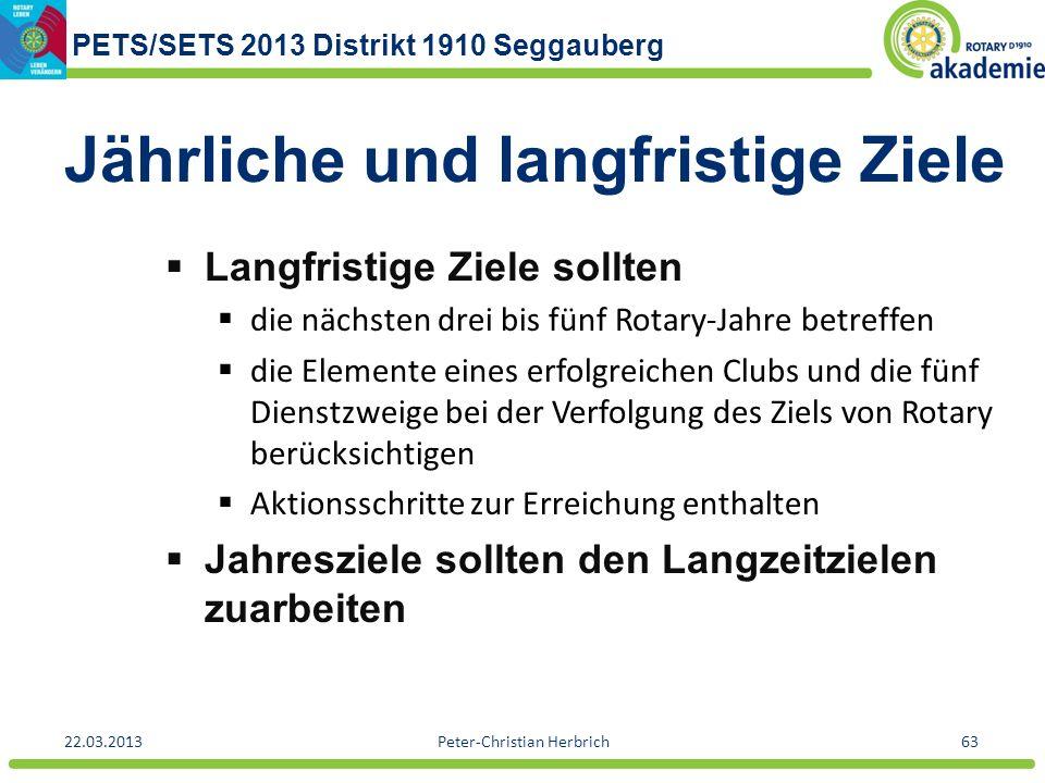 PETS/SETS 2013 Distrikt 1910 Seggauberg 22.03.2013Peter-Christian Herbrich63 Jährliche und langfristige Ziele Langfristige Ziele sollten die nächsten