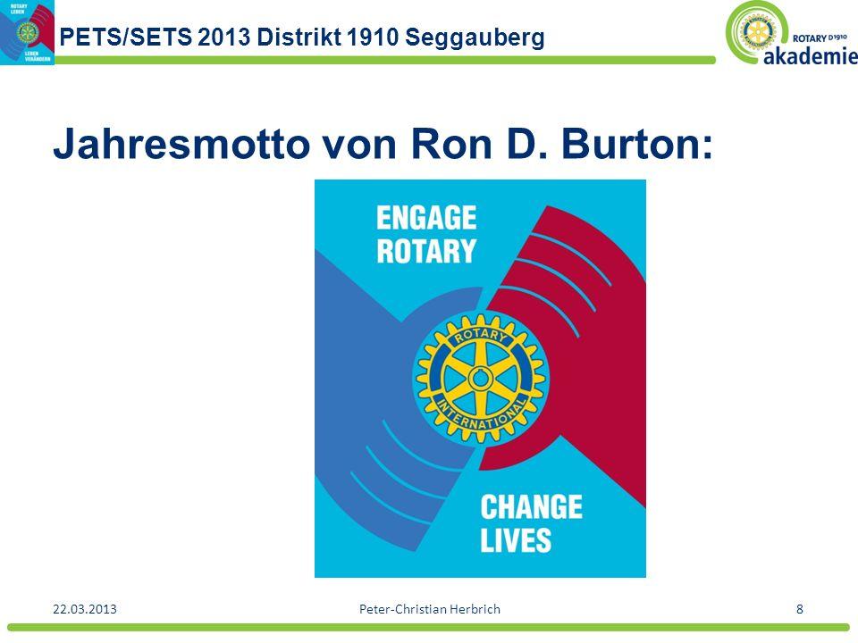 PETS/SETS 2013 Distrikt 1910 Seggauberg 22.03.2013Peter-Christian Herbrich8 Jahresmotto von Ron D. Burton: