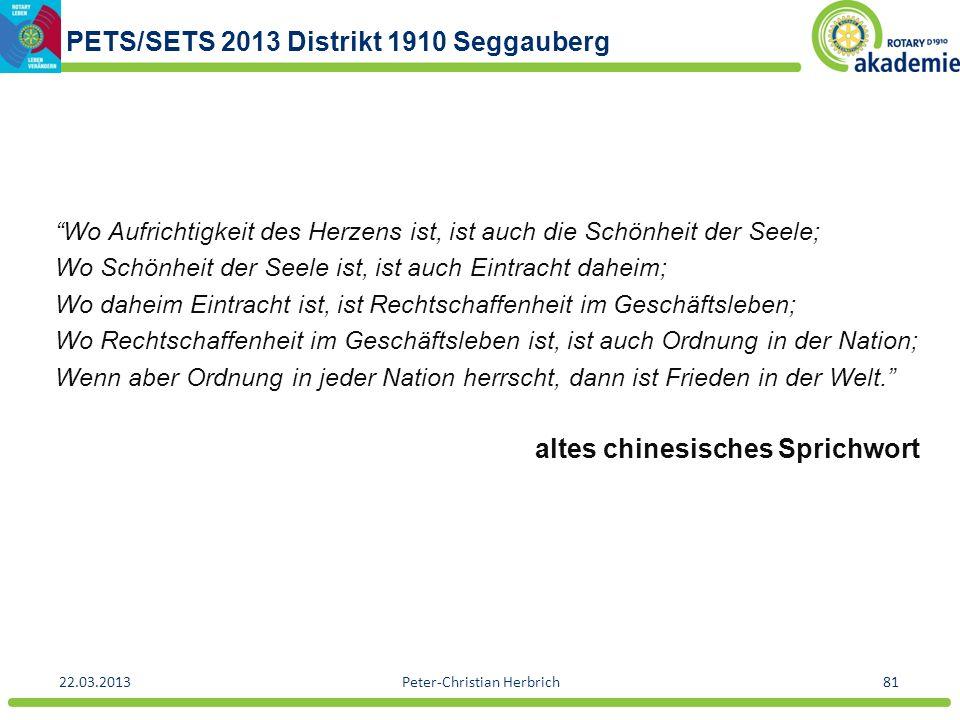 PETS/SETS 2013 Distrikt 1910 Seggauberg 22.03.2013Peter-Christian Herbrich81 Wo Aufrichtigkeit des Herzens ist, ist auch die Schönheit der Seele; Wo S
