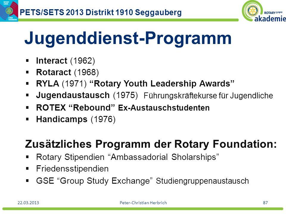 PETS/SETS 2013 Distrikt 1910 Seggauberg 22.03.2013Peter-Christian Herbrich87 Jugenddienst-Programm Interact (1962) Rotaract (1968) RYLA (1971) Rotary