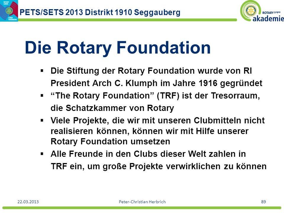 PETS/SETS 2013 Distrikt 1910 Seggauberg 22.03.2013Peter-Christian Herbrich89 Die Rotary Foundation Die Stiftung der Rotary Foundation wurde von RI Pre