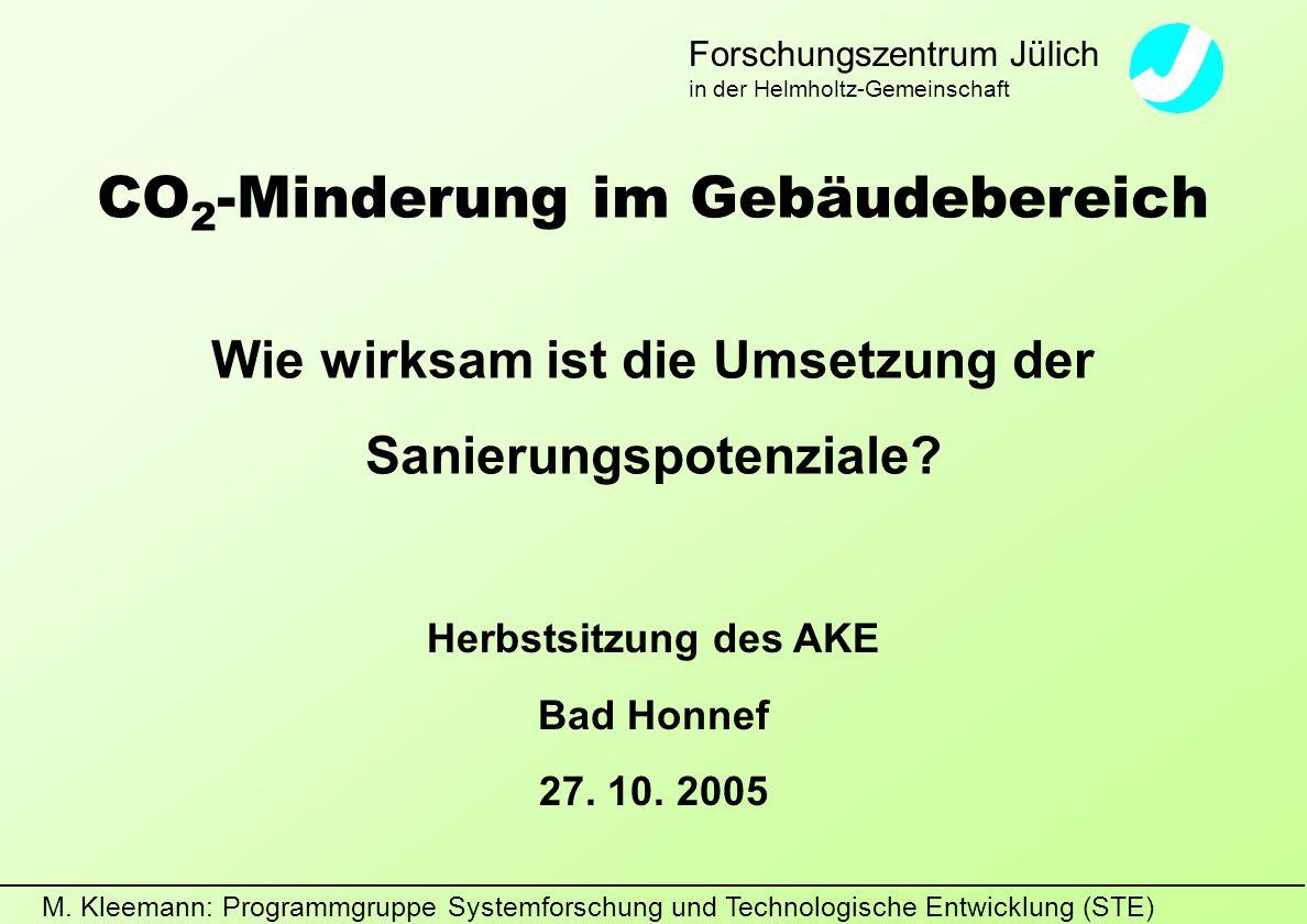 M. Kleemann: Programmgruppe Systemforschung und Technologische Entwicklung (STE) Forschungszentrum Jülich in der Helmholtz-Gemeinschaft CO 2 -Minderun