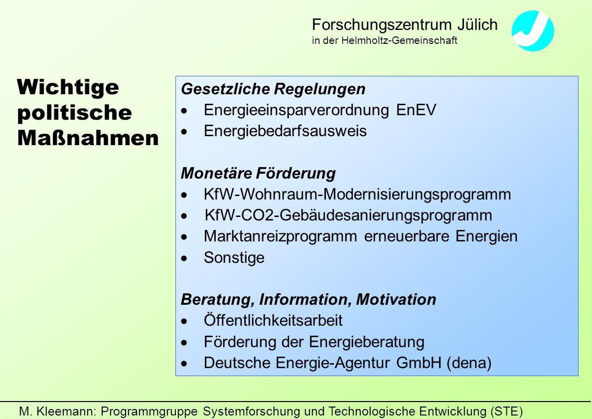 M. Kleemann: Programmgruppe Systemforschung und Technologische Entwicklung (STE) Forschungszentrum Jülich in der Helmholtz-Gemeinschaft Gesetzliche Re