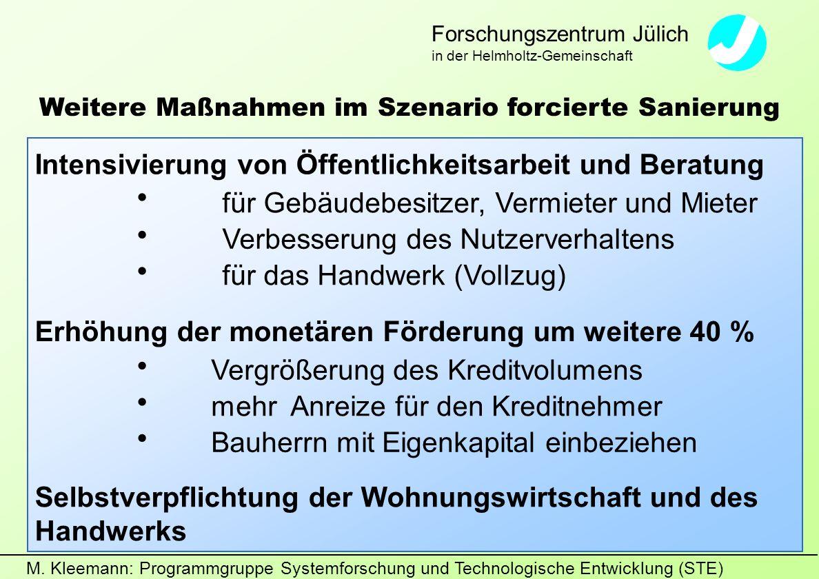 M. Kleemann: Programmgruppe Systemforschung und Technologische Entwicklung (STE) Forschungszentrum Jülich in der Helmholtz-Gemeinschaft Weitere Maßnah