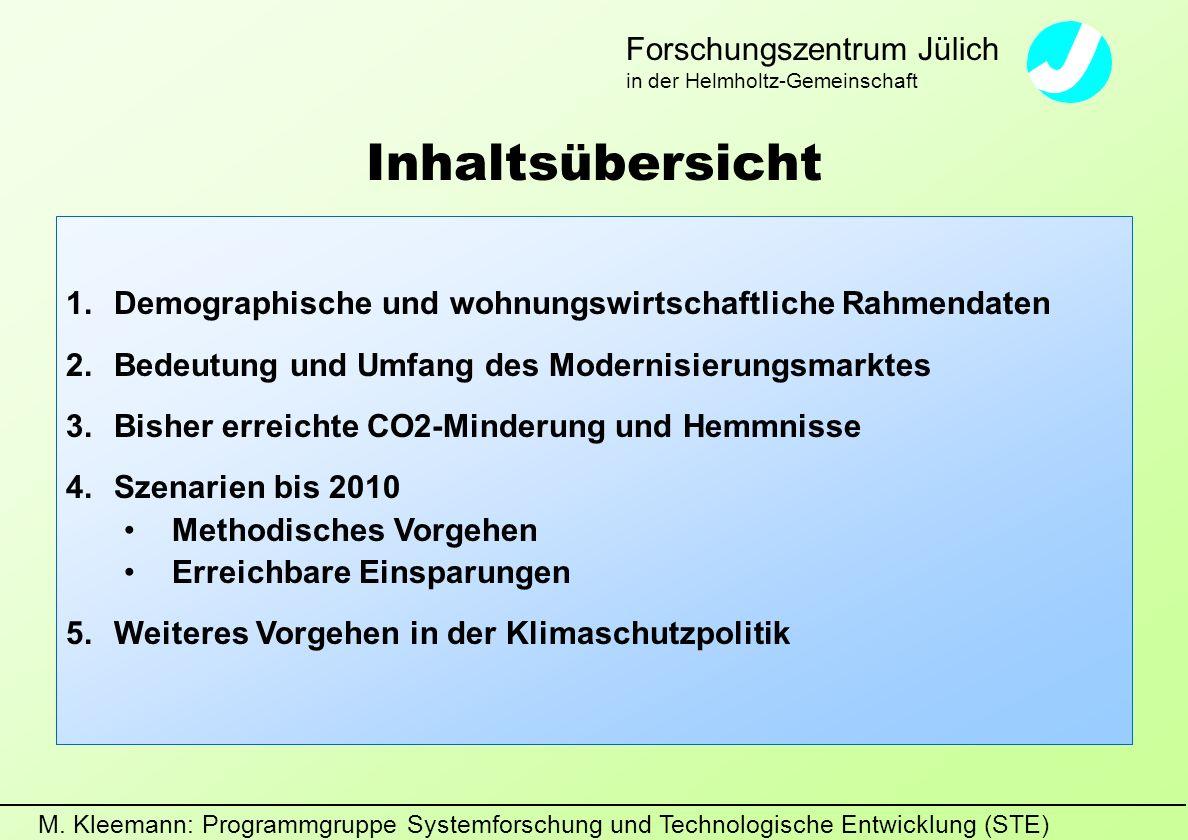 M. Kleemann: Programmgruppe Systemforschung und Technologische Entwicklung (STE) Forschungszentrum Jülich in der Helmholtz-Gemeinschaft Inhaltsübersic